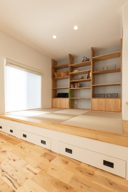 |上越市新築住宅|施工事例|家族時間|家事動線|リビング|小上がり|