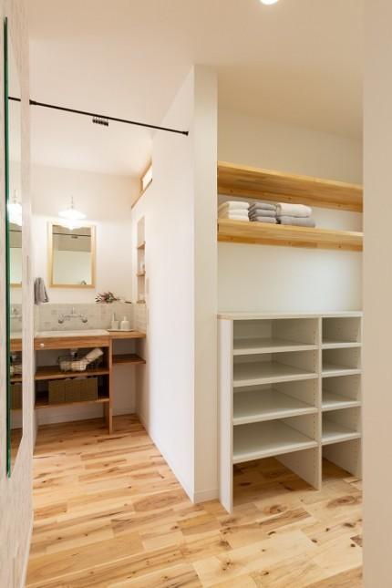 |上越市新築住宅|施工事例|家族時間|家事動線|洗面|ファミリークローゼット|